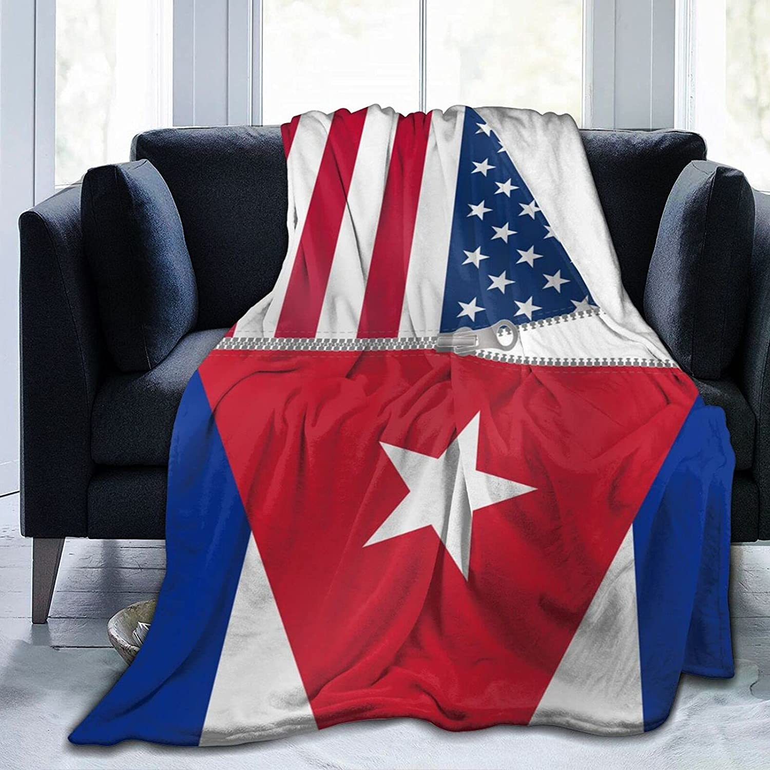 American Flag and Chicago Mall Cuban Popular overseas Blanket Comfortable Smoot Separated