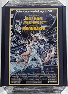 Roger Moore Signed 16x25 Framed Moonraker Original Movie Poster Auto Autograph