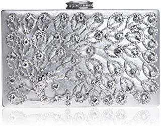 Women's Peacock Crystal Rhinestone Inlay Evening Clutch Bags Dress Banquet Bag Bridal Chain Crossbody Shoulder Bag Black/Gold/Silver. jszzz (Color : Silver)