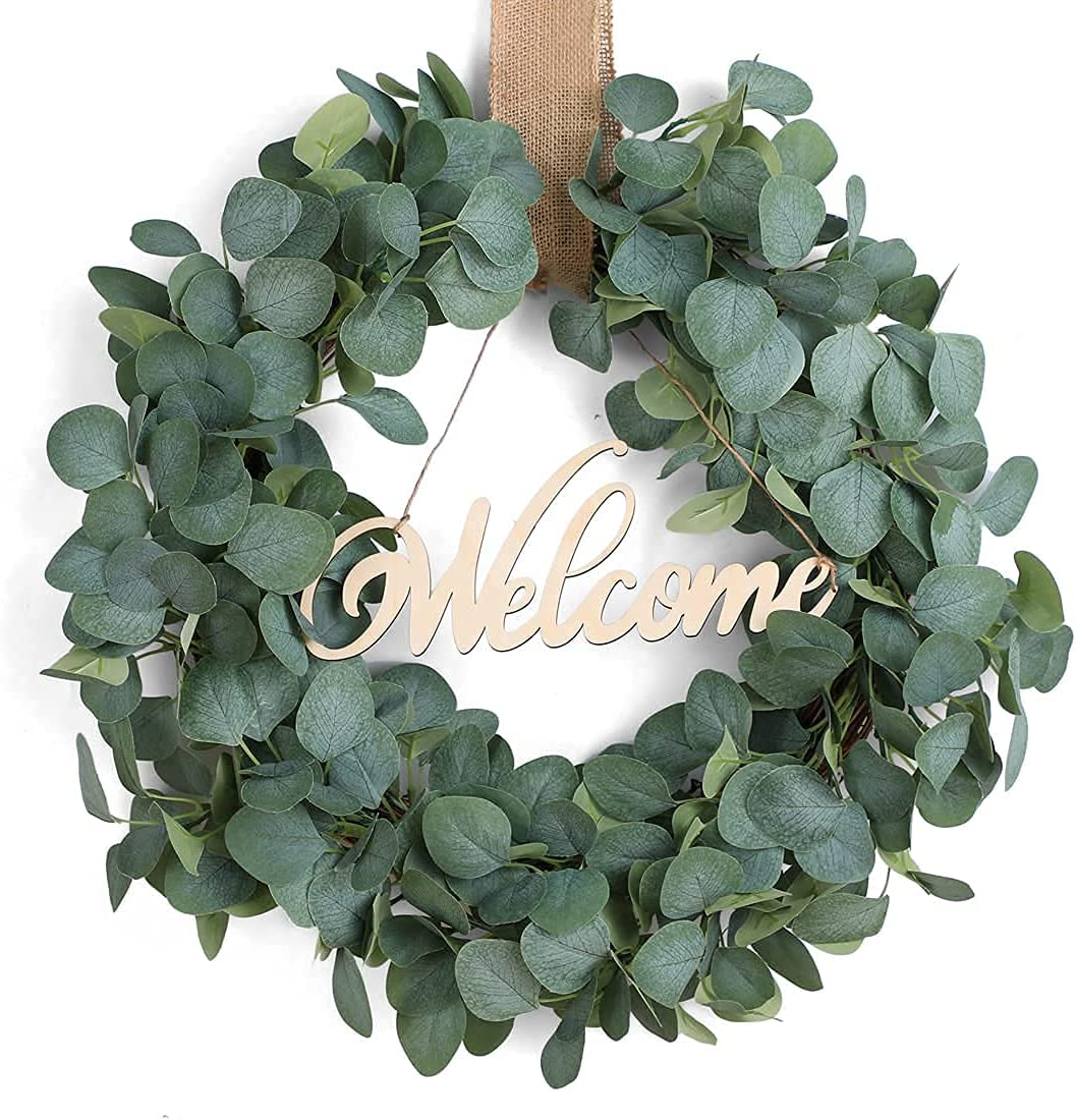 Rapid rise 22 Inches Max 61% OFF Artificial Green Leaf with Wreath Sp Ribbon Eucalyptus