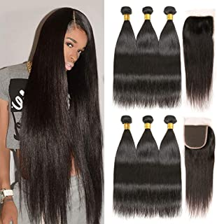 Brazilian Straight 3 Bundles With 4x4 Closure Human Hair Extensions Unprocessed Virgin Hair Weave Weft Free Part Natural Black Color For Woman (12 14 16+10, 4x4 Closure)