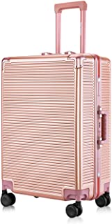 """Carry-On Deep Hardside Aluminum Frame Luggage, 20"""" Suitcase with Great Intensity, Scratch-Resistant, Easy for Both of Pleasant and Business Trip, Equipped with Two Locks, Rose Gold"""