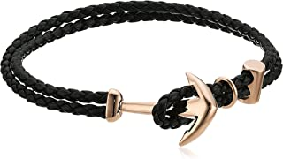 Mens Ombre Braided Leather Bracelet with Anchor Hook