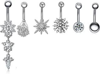 JDXN 6PCS 14G Surgical Steel Belly Button Rings CZ Navel Rings Belly Body Piercing Jewelry for Women