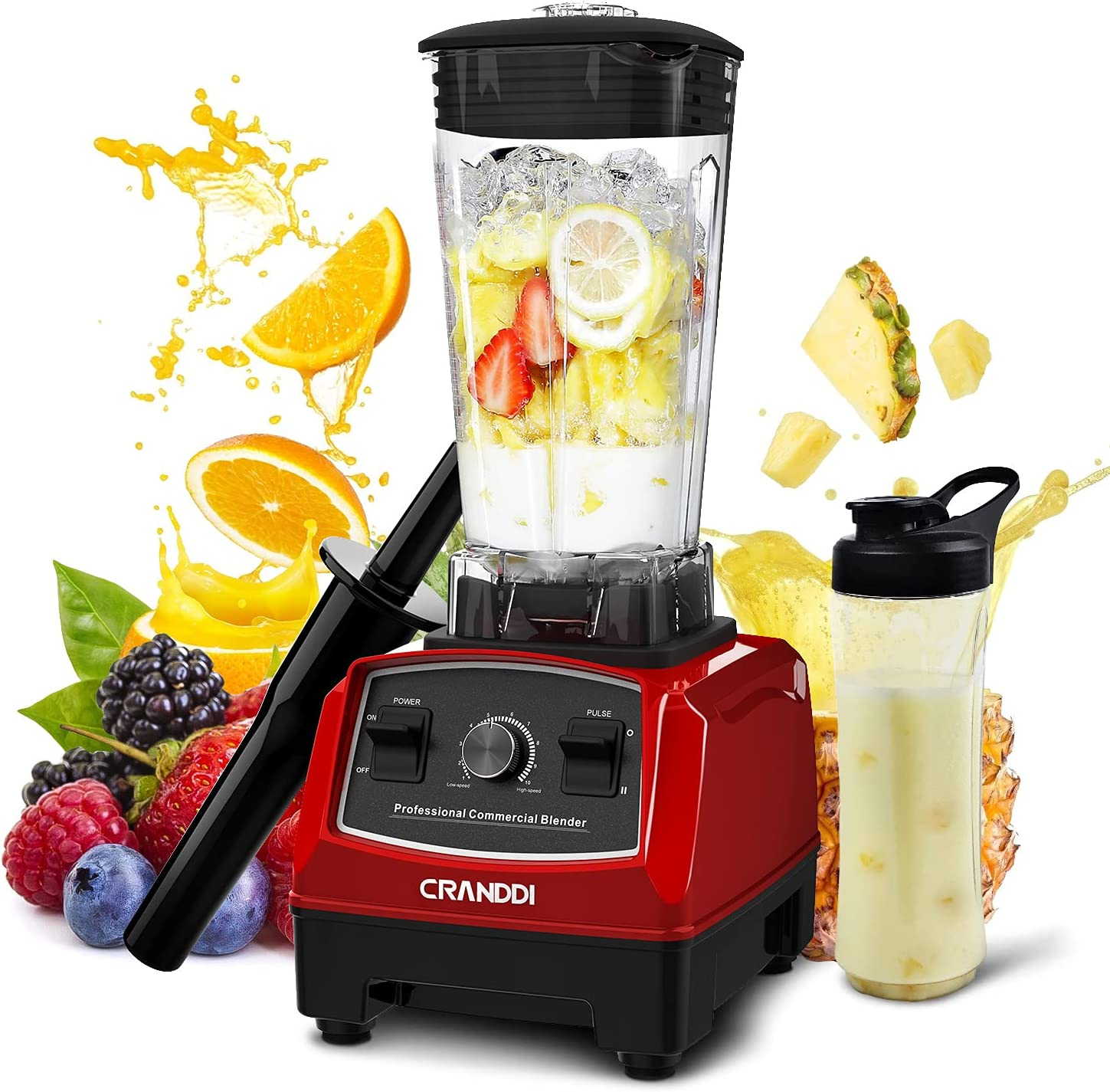 CRANDDI Professional Countertop Blenders for Kitchen,1500W,70oz BPA-Free Jar,10 Speeds Commercial Blenders for Shakes and Smoothies,Easy to Clean,YL-010-R New