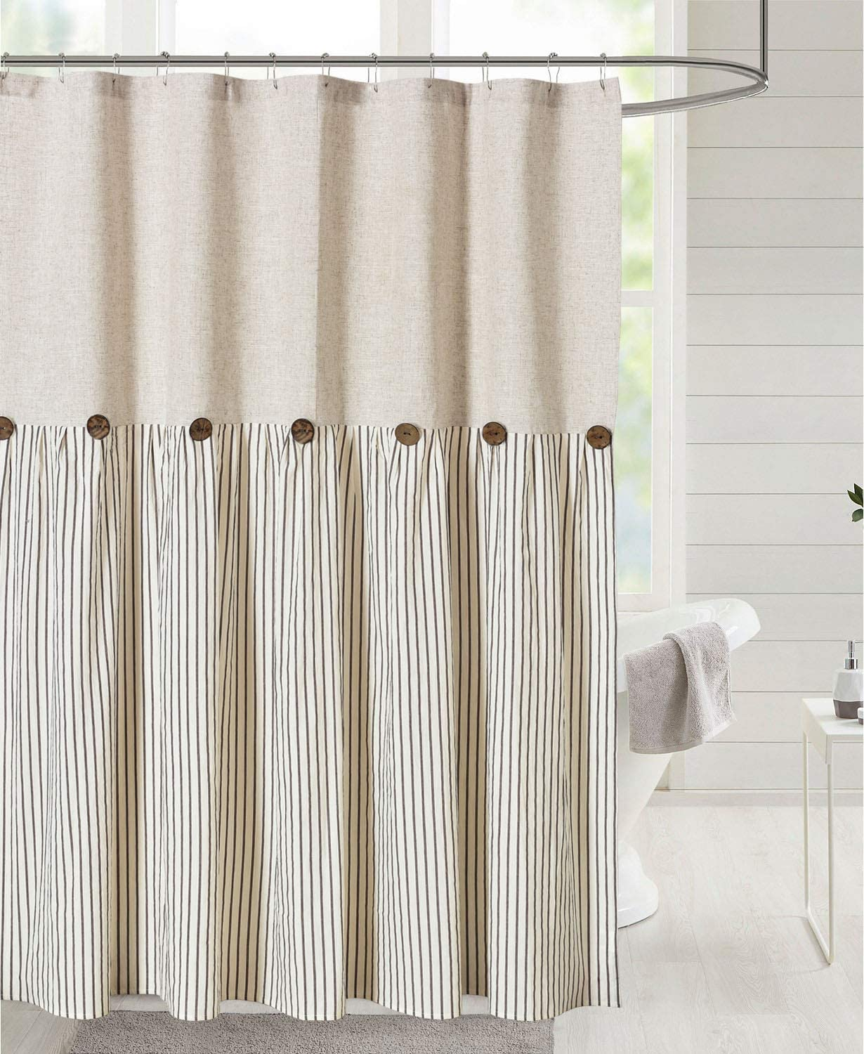 DOSLY IDÉES Linen Button Farmhouse Beige Shower Curtain,Linen and Cotton Woven Fabric,Pleated Brown Stripe,Country Style,72x72 in