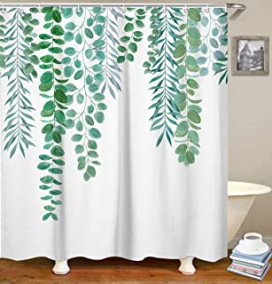LIVILAN Green Leaf Shower Curtain Set with 12 Hooks Decorative Bath Curtain Waterproof Fabric Bathroom Curtain 72