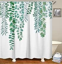 LIVILAN Green Leaf Shower Curtain Set with 12 Hooks Decorative Bath Curtain Waterproof Fabric Bathroom Curtain 72