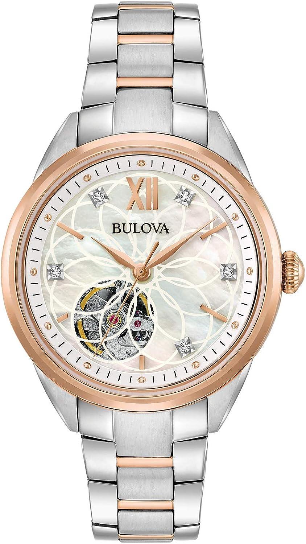 Bulova Reloj Automático de dos tonos exposición diamante para las mujeres