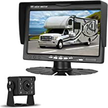 LeeKooLuu HD 720P Backup Camera Kit for Cars/Pickups/Trailers/Trucks/Vans Rear/Front View Single Power Rear Observation System with 7''Monitor Reversing/Driving Use IP69K Waterproof Guide Lines ON/OFF