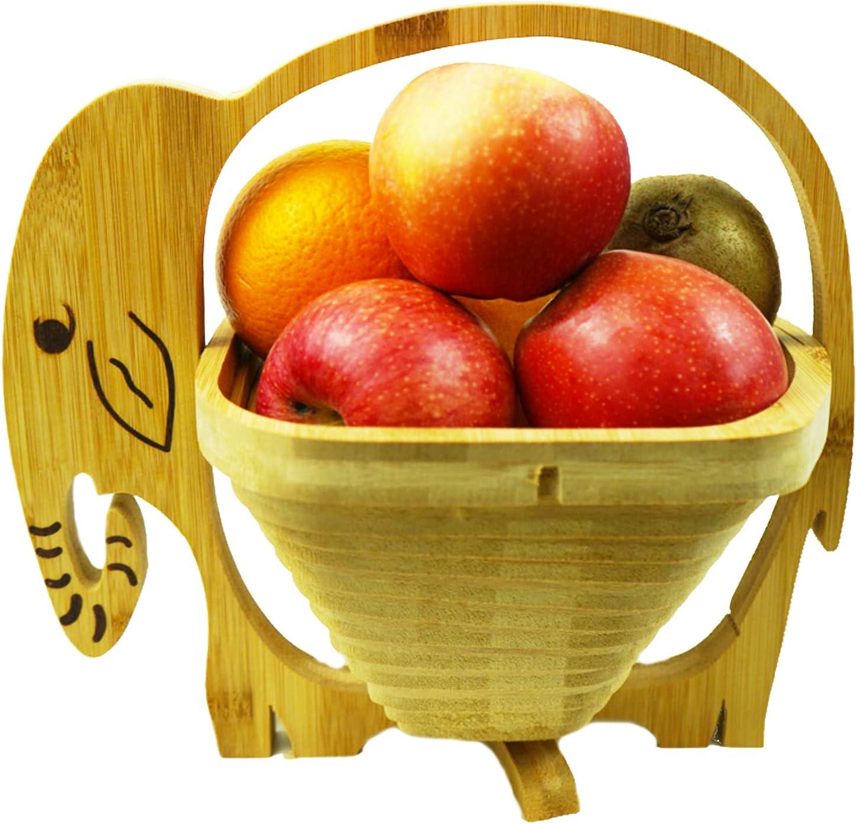 MYOSOTIS Foldable Fruit Basket Collapsible Bamboo Fruit and Veggie BasketF For Holiday Party (Elephant)