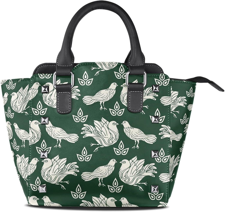 My Little Nest Women's Top Handle Satchel Handbag Doves Green Ladies PU Leather Shoulder Bag Crossbody Bag