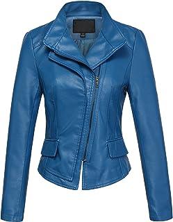 538c0d4a81c0 chouyatou Women's Stylish Oblique Zip Slim Faux Leather Biker Outerwear  Jacket