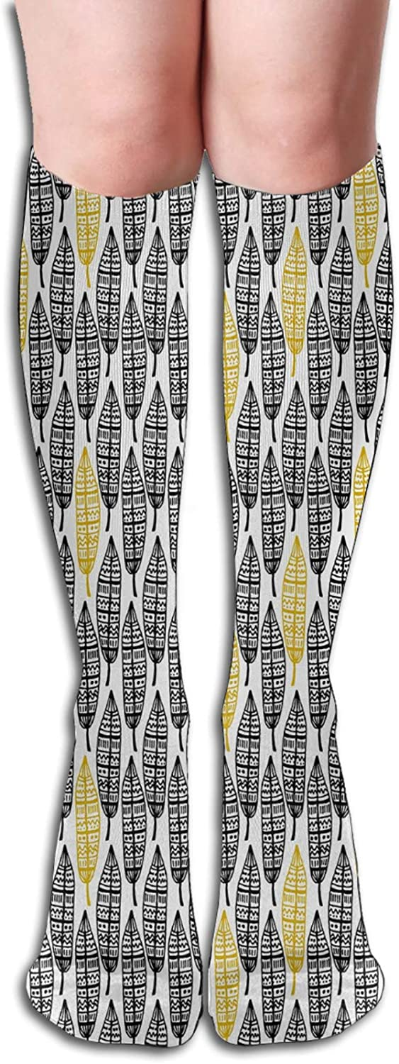 Compression Socks for Men/Women Tribal Hand Drawn Repeating Pattern Ornate Feathers Ethnic Style Artistic Socks Best for Circulation,Medical,Running,Athletic,Nurse,Travel 8.5 x 50cm