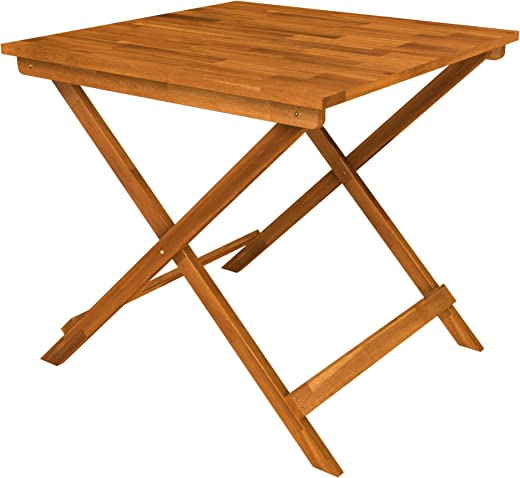 B07PDLDC8Z✅Interbuild Sydney Wood Folding Patio Table 29.5″ x 29.5″ x 28.7″, Golden Teak
