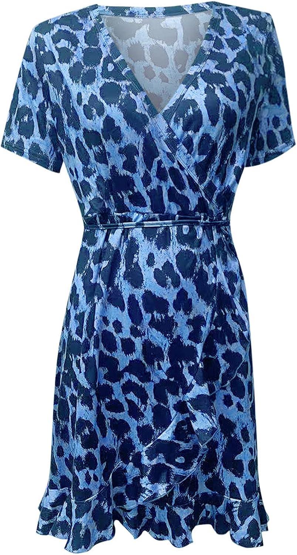 Womens Plus Size Short Sleeve Deep V Neck Wrap Dress, Summer Casual Sleeve Down Ruffle Mini Flowy Dress