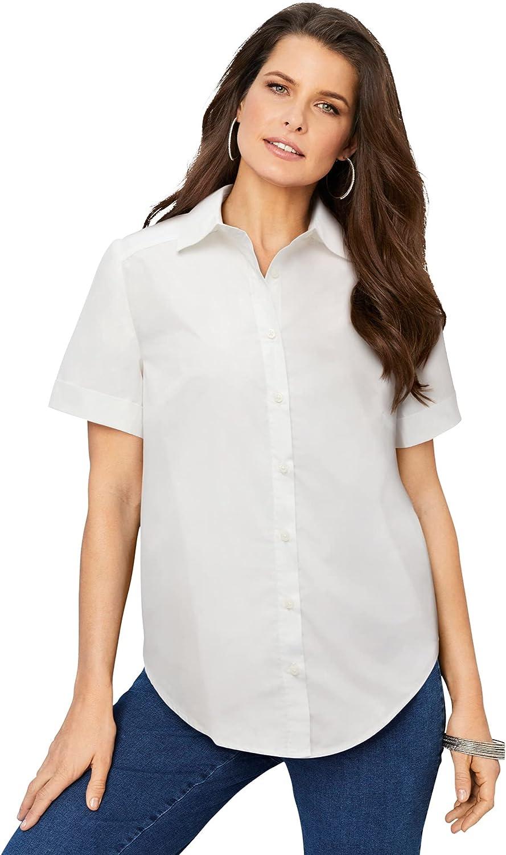 Roamans Women's Plus Size Short-Sleeve Kate Big Shirt Button Down Shirt Blouse