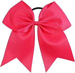 Kenz Laurenz Cheer Bows Hot Pink Cheerleading Softball - Gifts for Girls and Women Team Bow with Ponytail Holder Complete your Cheerleader Outfit Uniform Strong Hair Ties Bands Elastics