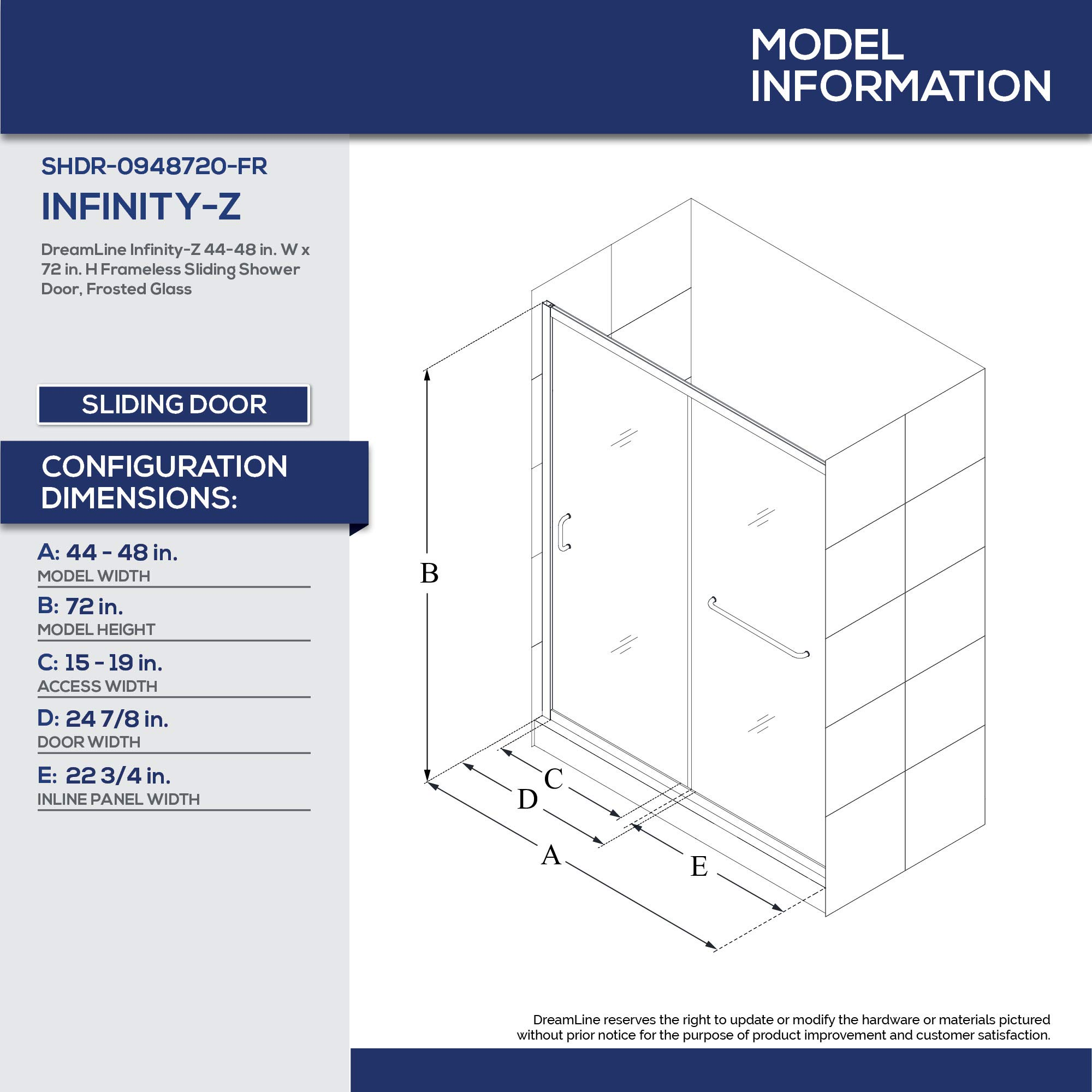 DreamLine Infinity-Z 44 A 48 en. Sin marco deslizante para mampara ...