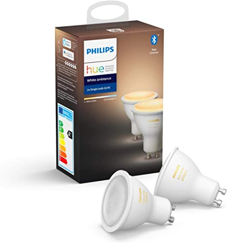 Philips Hue White Ambiance Smart Spotlight Twin Pack LED [GU10 Spot] with Bluetooth, Compatible with Alexa and Google...