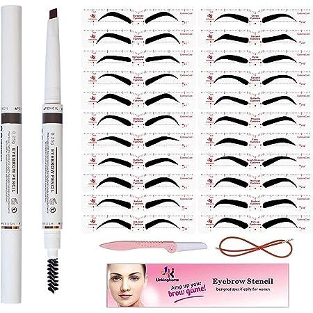 Eyebrow Stencil & Eyebrow Pencil, 30 Eyebrow Shaper Kit, Reusable Eyebrow Template with Strap & Eyebrow Razor, Waterproof Eyebrow Pen, 3 Minutes Makeup, Suitable for 98%
