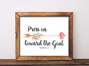 Scripture Printable Graduation Gift Press on Toward The Goal Inspirational Quote Scripture Wall Art Scripture Prints Gifts