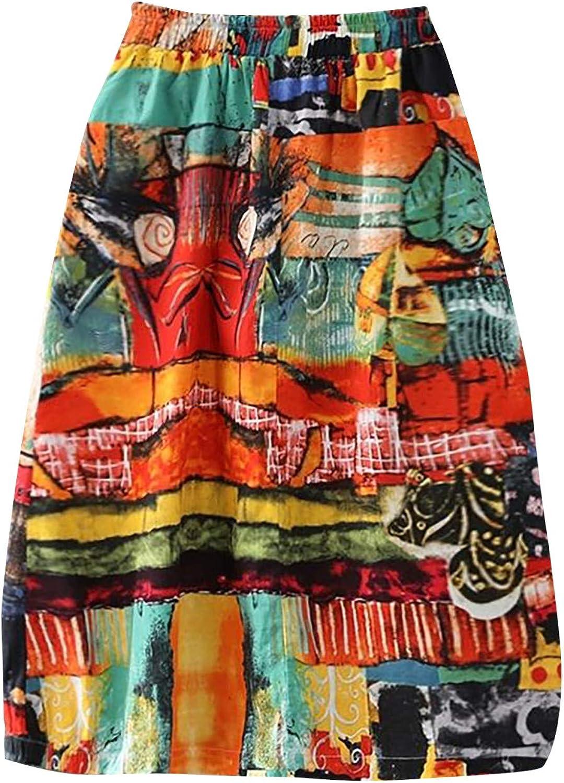WOYAOFA Women's Retro Summer Vintage Elastic High Waist Print Long Bodycon Pencil A-Line Mini Fashion Skirt