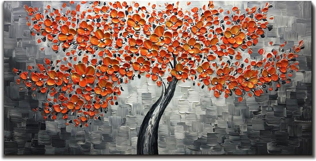 Metuu Modern Canvas Paintings Texture Red Low price Flowers Palette Knife trust
