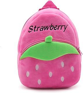 WSLCN Mini Backpack Kids Cute School Shoulder Bag Toddler Plush Small Backpack Baby Schoolbag Preschool Bag Gift Strawberry