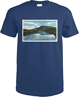 Chattanooga, Tennessee - View of Lookout Mountain from the Tennessee River 35801 (Navy Blue T-Shirt Large)