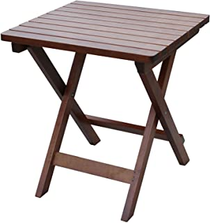 Rockingrocker - T033SNT Natural Wooden Rectangular Folding Side Table - No Assembly Required - Suitable for Porch and Indoor - W15.75 x D17.72 x H18.9 Inches