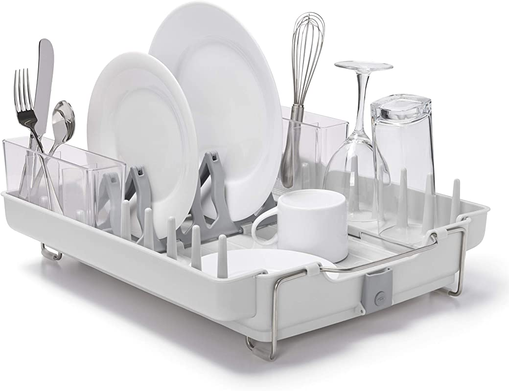 OXO Good Grips Convertible Foldaway Dish Rack Stainless Steel