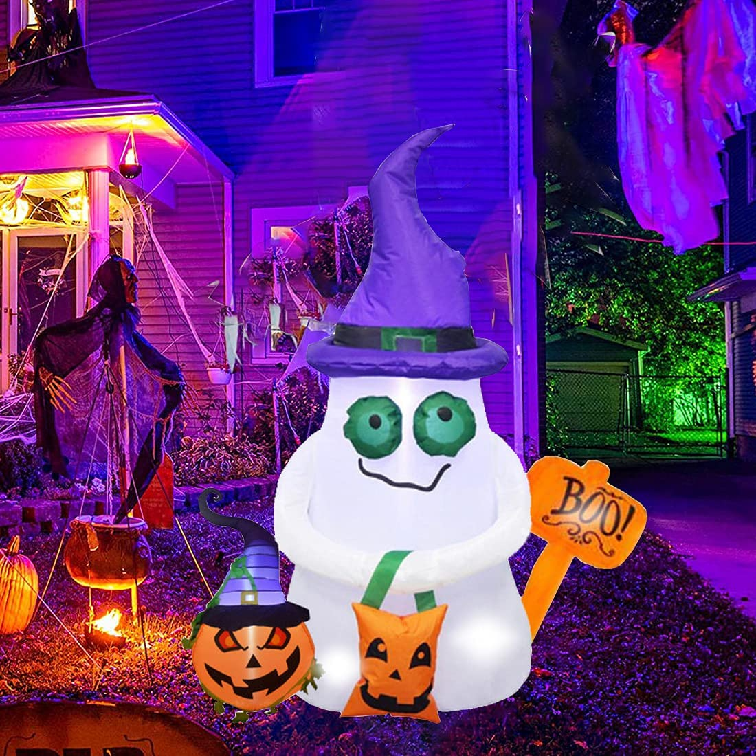 FROGBRO 5 Ft Halloween Popular standard shop Inflatable Ghost Ham The Pumpkin with and