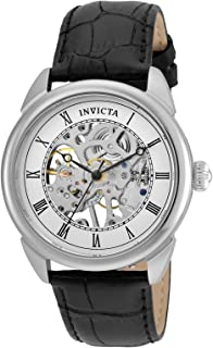Invicta Men's Specialty 42mm Stainless Steel and Leather Mechanical Watch, Black (Model: 23533)