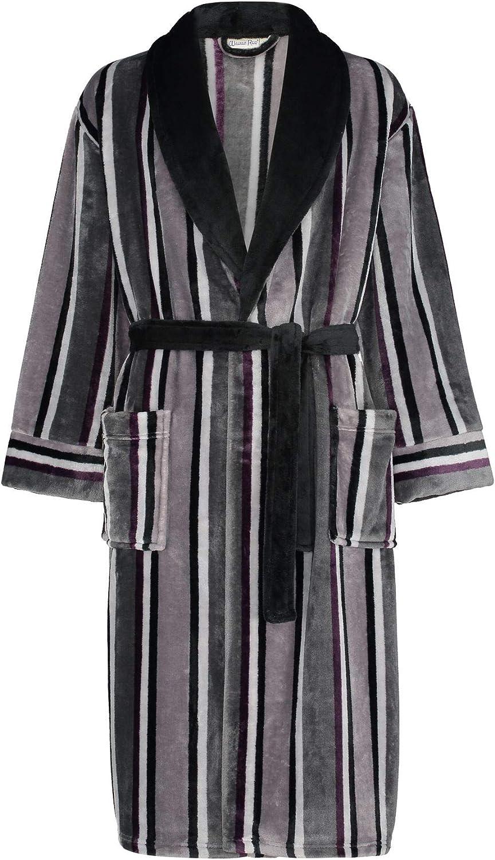 Walker Reid by Slenderella Mens Stripe Coral Fleece Dressing Gown Robe M-3XL