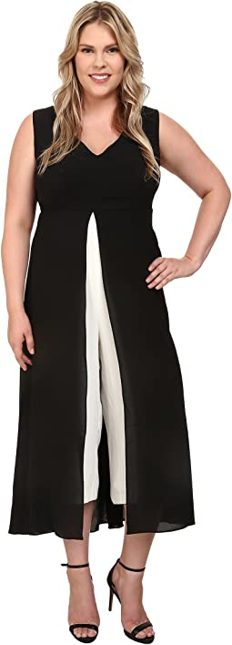 Plus Size Color Blocked Overlay Jumpsuit