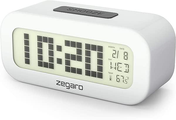 Zegaro 数字闹钟卧室大 4 2 英寸液晶显示屏带蓝色 LED 背光大数字日期和温度显示易于使用电池供电的不锈钢金属外壳