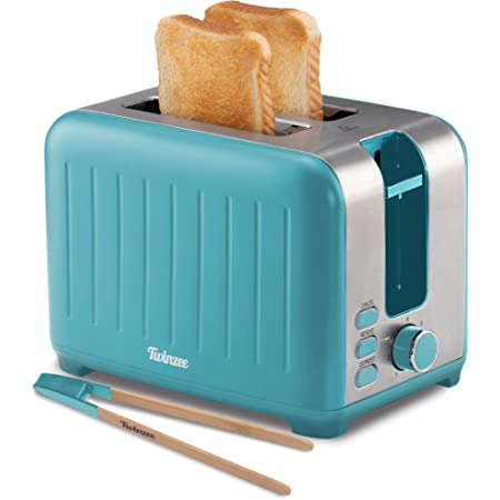 Wide Slot Toaster 2 Slice - Retro Toaster, Matte Teal and Stainless Steel - Small Toaster with Free Bamboo Tongs Clips and Crumb Tray - 6 Toasting Settings, 850W Toasters - Vintage Toster