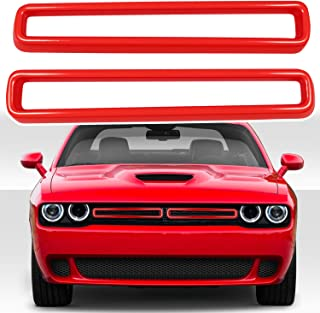 Red Front Grille Inserts Cover Trim Exterior Accessories fits for 2015-2020 Dodge Challenger(Pack of 2)