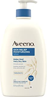 Aveeno Skin Relief Moisturizing Lotion for Sensitive Skin with Natural Shea Butter & Triple Oat Complex, Unscented Therape...