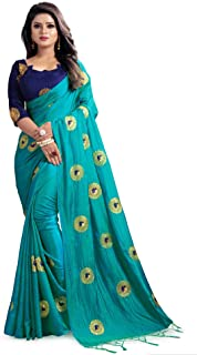 Kuvarba Fashion Women's Banarasi Silk Saree With Unstitched Blouse Piece