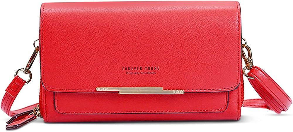 Forrica portafoglio porta carte di credito porta cellulare da donna in pelle sintetica F-DG001