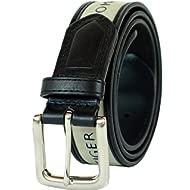 Men's Ribbon Inlay Belt - Ribbon Fabric Design with Single Prong Buckle