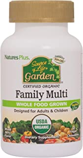 NaturesPlus Source of Life Garden Certified Organic Family Chewable Multivitamin - 60 Vegan Chewables - Mixed Berry Flavor...