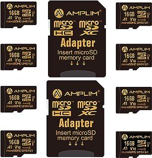 8-Pack Bulk 16GB Micro SDHC Memory Card Plus Adapter – Amplim 16 GB Class 10 Micro SD Card V10 A1. Extreme High Speed 100M...