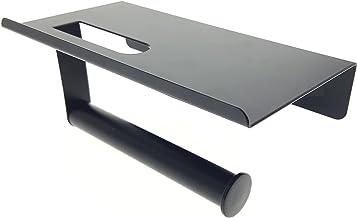 Novel Solutions - Portarrollos de pared para papel higiénico con soporte para el teléfono móvil. Color negro mate