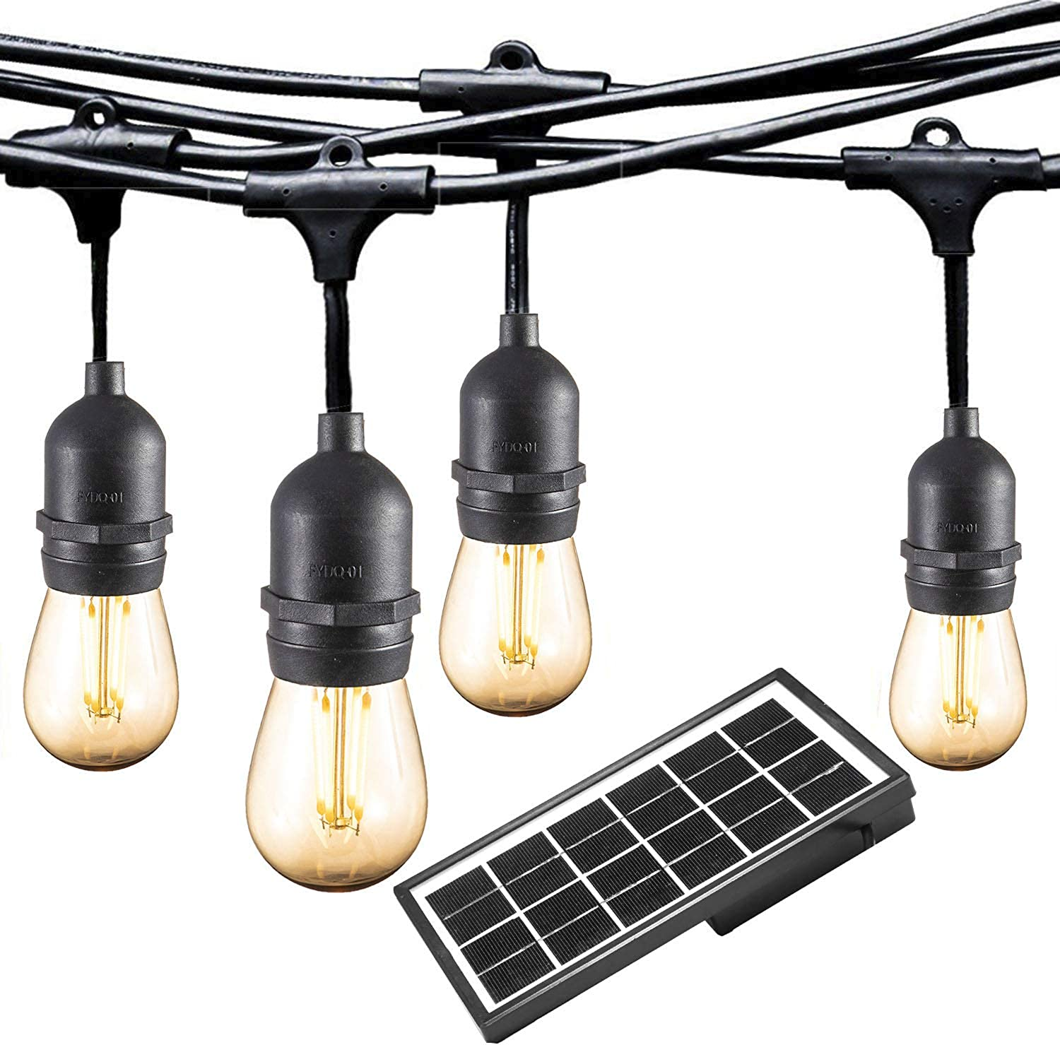 Ashialight Solar LED Outdoor String Lights with Hanging Sockets - Heavy Duty Lights,Waterproof,42Ft 10 Lights LED Bistro Cafe Lights,Low Voltage,Vintage Edison Bulbs,Commerial Patio String Lights