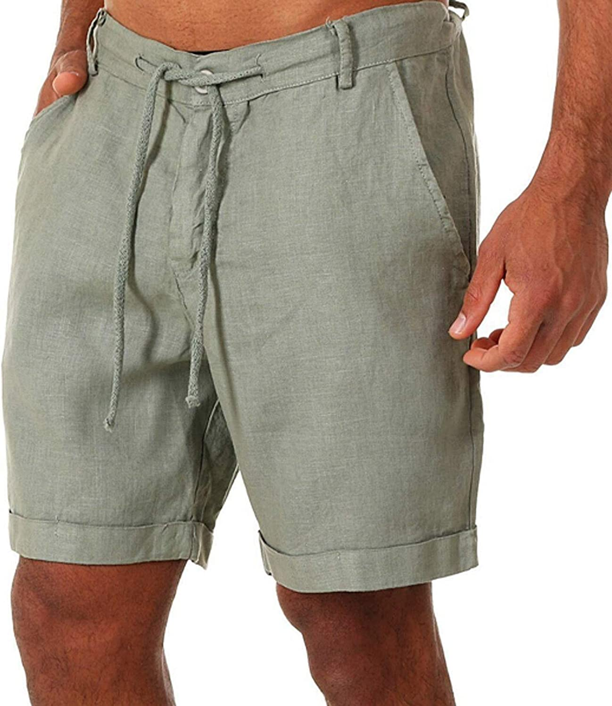 Uppada Mens Sweatpants Linen Shorts Relax Fit Activewear Knee El