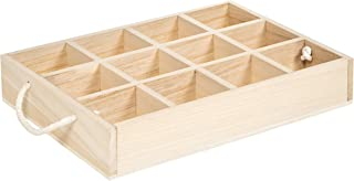 Darice 30041934 Unfinished Divided, 11 x 14.5 inches Wood Crate Natural