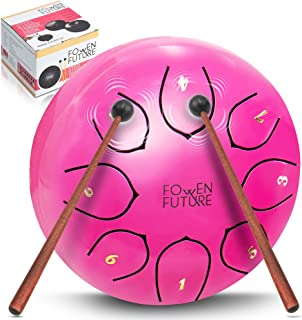 FOWEN FUTURE Steel Tongue Drum Musical Instrument - 6 Inch 8 Notes Panda Drum Percussion Instruments, with drum mallets, soft bag, music book, for Healing, Meditation, Yoga, Gift for Kids